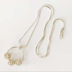 NEW-3 Gold Crystals Studded Balls In Loop Pendant